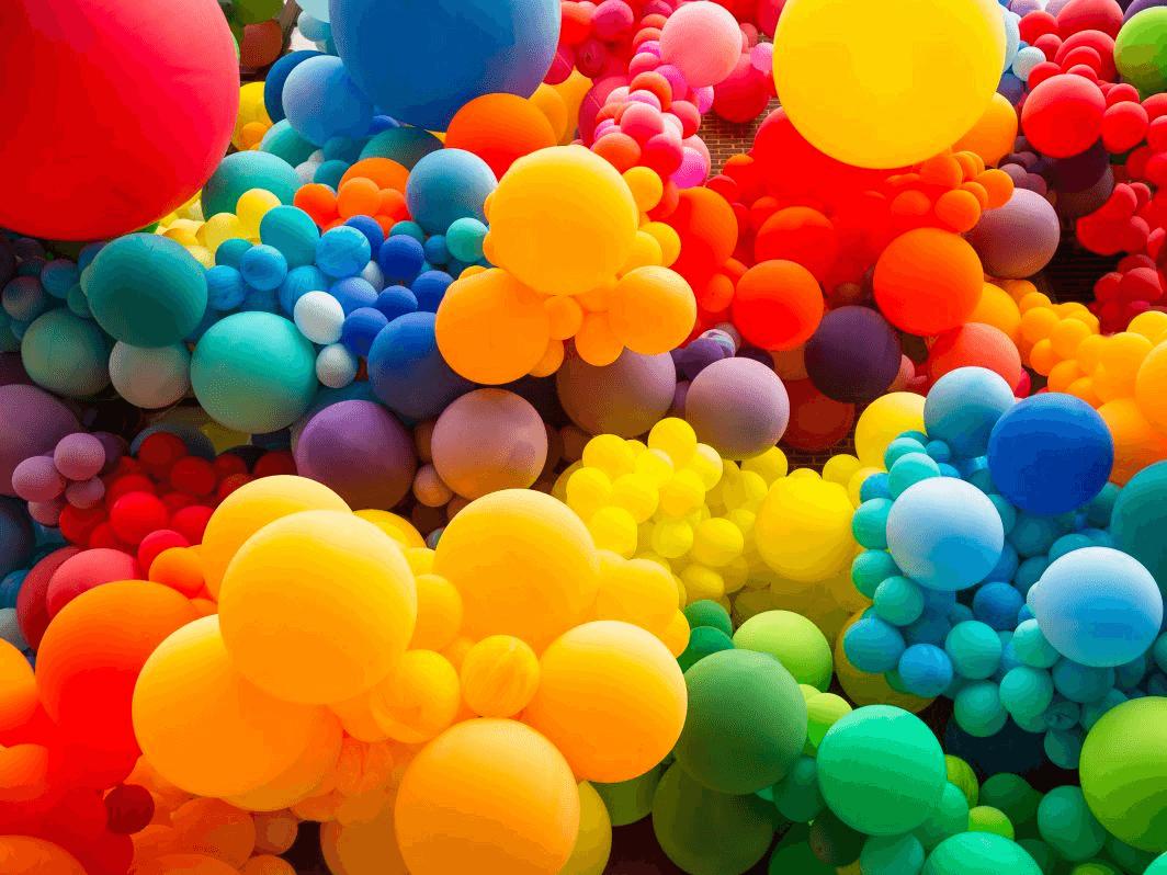 Bright multi-coloured balloons
