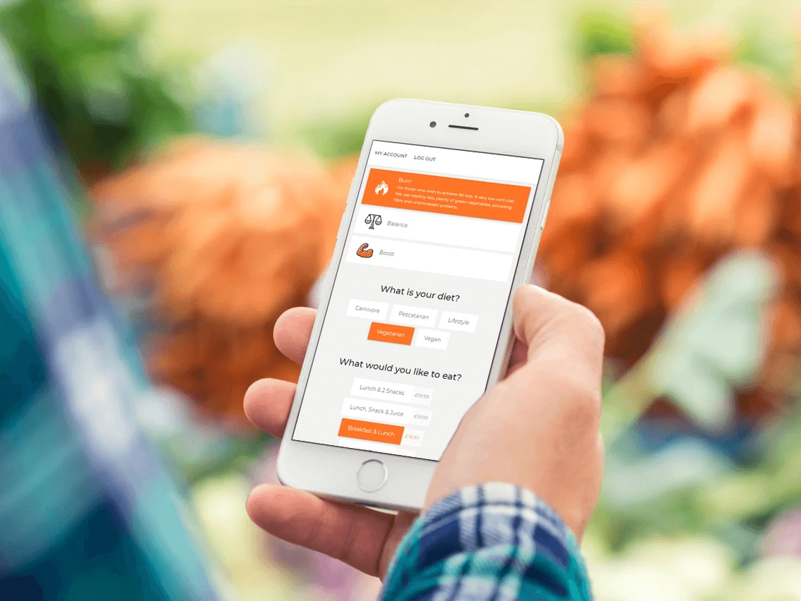 Delivery app on mobile phone