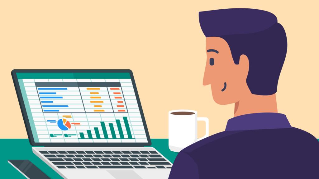 Developer looking at spreadsheet
